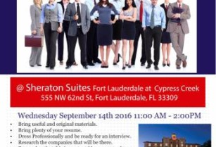 CAREER FAIR WEDNESDAY SEPT 14TH SHERATON SUITES CYPRESS CREEK FT LAUD