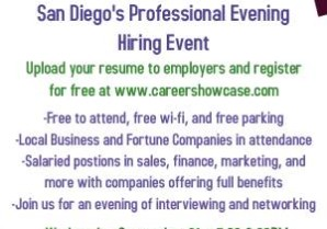 SAN DIEGO CAREER FAIR *THIS WEDNESDAY* @ 5:30PM, MANY NEW COMPANIES (595 Hotel Circle S)
