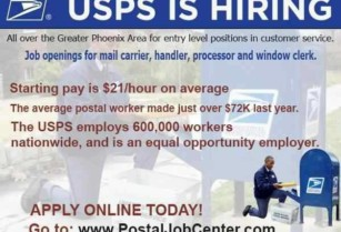 The US_Postal Service Is Now Hiring – Customer services and delivery (Phoenix, AZ)