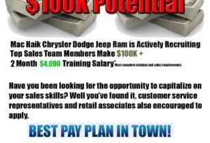 $100,000.00 Salary Potential (Sales) (Georgetown)