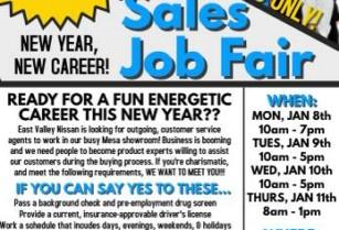 🚗 JOB FAIR JAN 8th – JAN 11th…PAID TRAINING, START ASAP! 🚗 (Nissan – 6354 E Test Dr Mesa, AZ)