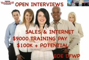 🔴TOYOTA OPEN INTERVIEWS,$9KPAID TRAINING,NO EXP OK,MON/TUE (TOYOTA,1000 I 20 WEST,ARLINGTON,3/12-13)